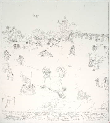 Battle at Athlone 1691, etching