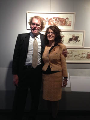 Susanne Thea and husband Bent Malinivsky at her opening at Museé de la Tapiserie de Bayeux, Normandy