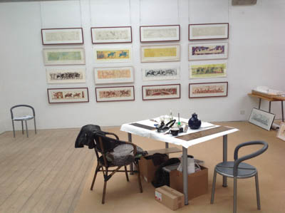 From line drawing to final work, exhibition
