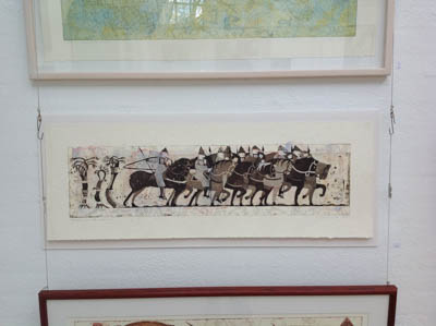 Normans on horseback, mixed media